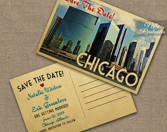 Chicago Save The Date Postcards - Vintage Travel Chicago Skyline Save The Date Postcard - Printable Retro Illinois Wedding Save The Date VTW