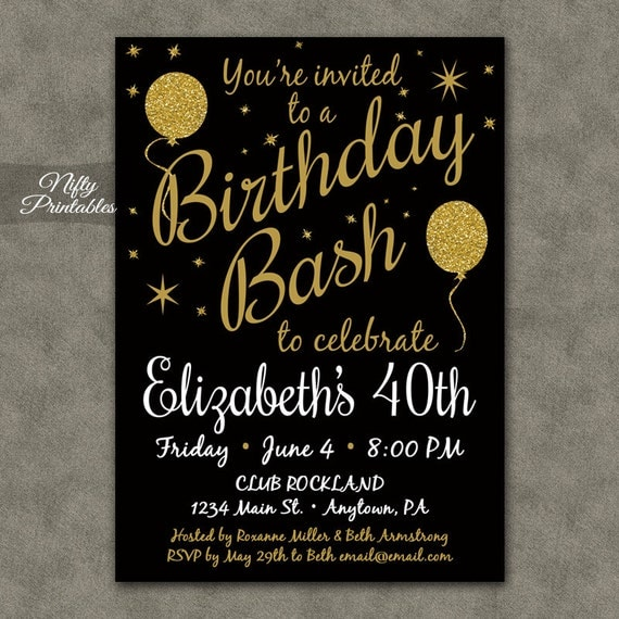 40th birthday invitations printable 40 black gold glitter like this item stopboris Images
