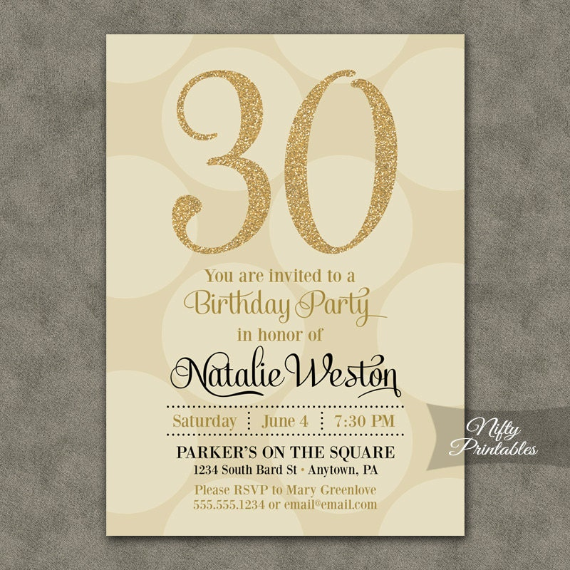 Cream & Gold Birthday Invitations ANY AGE 21st 30th 40th