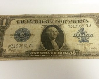 1923 1 Dollar US Note Bill Washington DC Federal Reserve Usa One Silver Dollar Payable