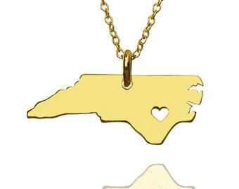 State necklace, location necklace, North carolina necklace