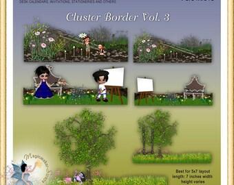 Card, Stationeries, Photography, Digital Scrapbook, Graphic Design, Spring, Cluster Border