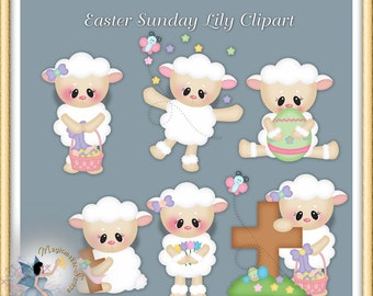 Easter Clipart, Lamb and Lily