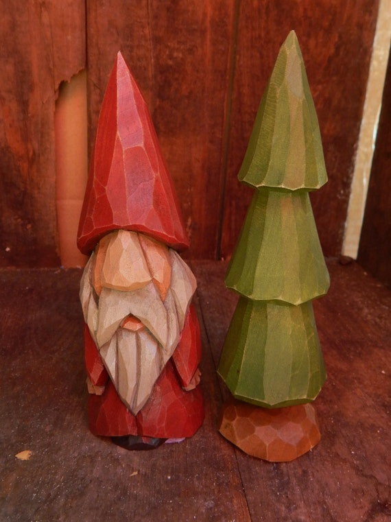 Hand carved christmas gnome with tree