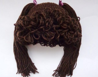 Cabbage Patch Kid Hat Inspired Crochet Wig In Brown Or Choose Your Color And size Bunch Ponytail Style