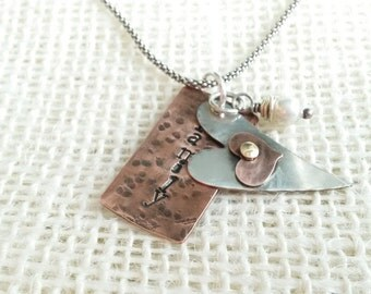 Personalized Hand stamped mixed metal necklace, great for a Mom and Grandma