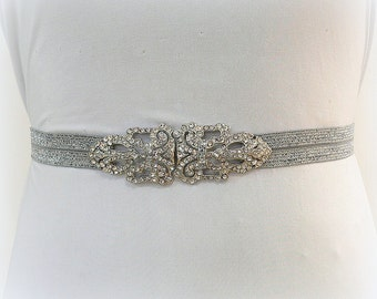 Rhinestone Wedding or Special occasion Elastic BELT,Silver belt,bridal crystal belt,bridesmaids gift