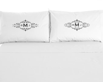 Custom Monogram Pillowcases, Personalized Pillows, Love, Wedding, Set of 2