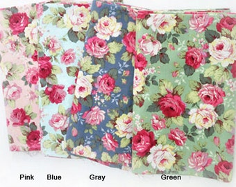 Cotton Fabric Beautiful Roses in 4 Colors By The Yard