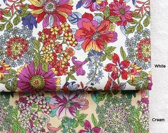"""Cotton Fabric 2.20"""" (5.5 cm) Flower in 2 Colors By The Yard"""