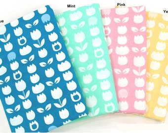 Cotton Fabric with Tulip in 4 Colors By The Yard