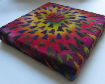 "Colourful textile wall art, ""Rainbow Alium"", made from felted wool, ready to hang"