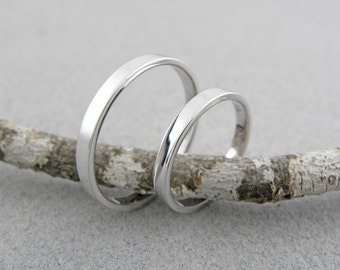 his and hers wedding rings 14k white gold wedding ring set handmade shiny finish - His Hers Wedding Rings
