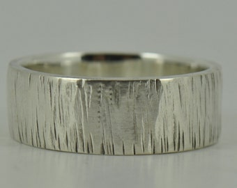 Personliased Textured TREE BARK Sterling Silver Mens Wedding Ring Band UK Unique Different groom fiance commitment engagement unusual gift