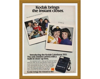 "1981 Kodak Colorburst 350 camera Color Print AD / Kodak brings the instant closer / 9"" x 12"" / Original Advertisement / Buy 2 ads Get 1 FREE"