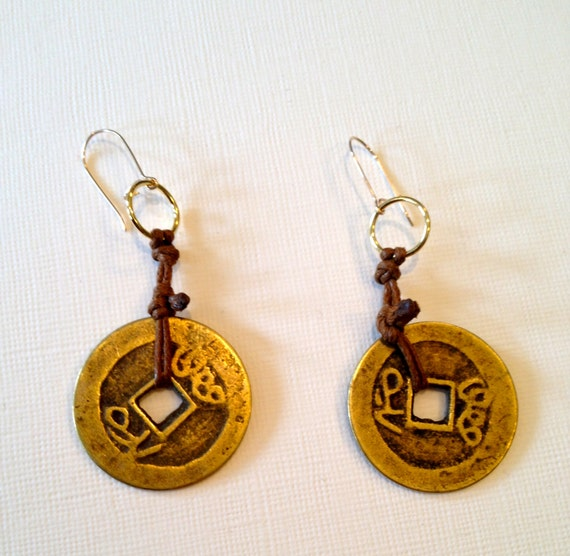 Handmade Chinese brass coin and brown cord earrings