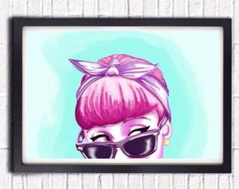 DIY PRINTABLE POSTER // Audrey Hepburn Sunglasses Poster Print // Pastel Art - Watercolor Print // Breakfast at Tiffany's - Dorm Decor
