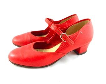 Vintage Genuine Paul Wright Handmade Red Dancing Shoes Size 9 (40 EU)