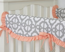 15% OFF SALE- Coral and Gray Mod Lattice Crib Rail Cover for Bumperless Bedding