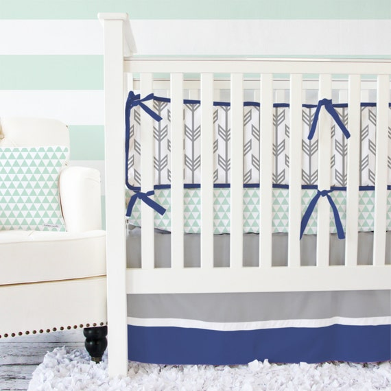 Navy & Mint Arrow Baby Bedding SWATCH SET by