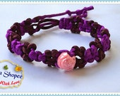 Adjustable Hemp Macrame Bracelet  - Friendship Bracelet - Wish bracelet -