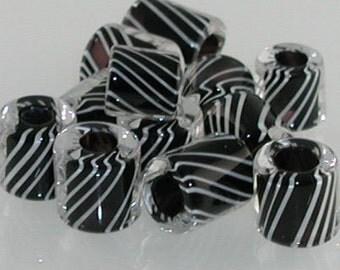 Black & White Licorice ~ Furnace Art Glass Beads 1/2 oz.