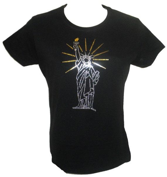 statue of liberty glitter t shirt glitter rhinestone t