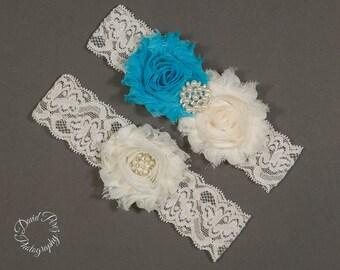 Wedding Garter  Bridal Garter Lace Garter Wedding Garters Somethin Blue Garter Toss Garter Keepsake Garter Ivory and Blue Garter Ivory Lace