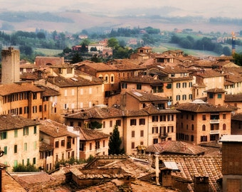 Tuscany, Siena, Italy Sky View, Rooftops, Landscape