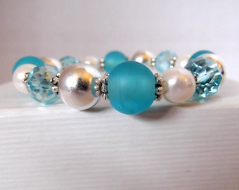 Teal Lampwork Glass Pearl Stretch Bracelet 6 inch - bridal - birthday - anniversary - turquoise crystal - silver plated