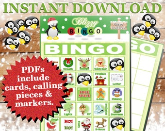 Blizzy Bingo CHRISTMAS printable PDFs contain everything you need to play Bingo. You get 30 bingo cards, calling cards & markers.