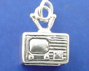 TELEVISION Charm .925 Sterling Silver TV Console Pendant - lp3696