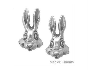 BUNNY Rabbit HEAD EARRINGS, Post Stud .925 Sterling Silver