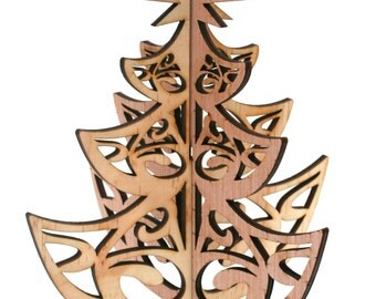 Laser Cut Rustic Wood Christmas Tree Decoration