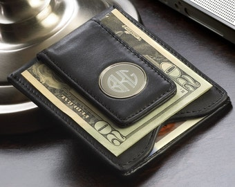 Personalized Leather Wallet and Money Clip Combo - Leather Wallet & Money Clip - Black Leather Money Clip - Groomsmen Gifts - Gifts for Him