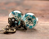 Earrings with turquoise colored dill flowers - E174