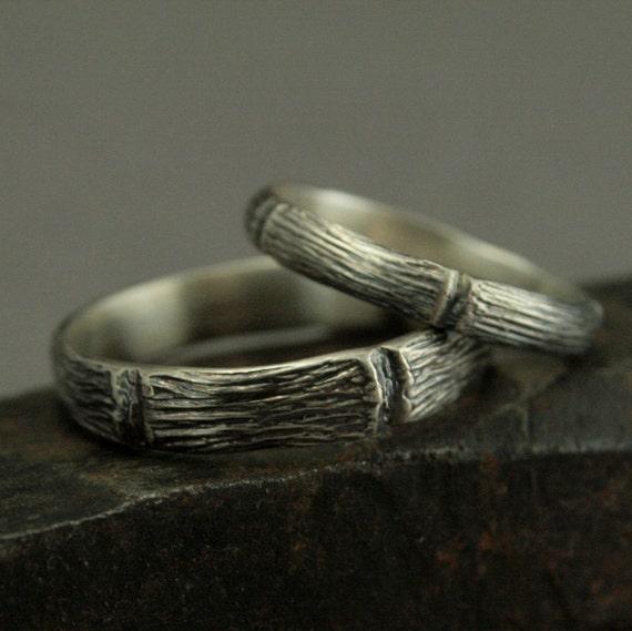 Woodland Wedding Set Handmade Forest Rings