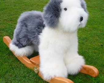 Luxury long wool sheepskin Rocking Old English Sheepdog.