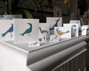 Pack of 12 bird cards. Hand made, unique cards of different sizes with envelopes, nice to send individually look great displayed in a group