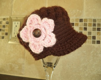 Baby crochet flower hat with brim