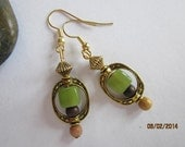 Earring~The Colours Of Nature ~  Square Green Beads in a Gold Metal Frame, Wood and Glass Accent Beads. Pierced ears