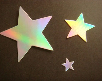 Silver Holographic Stars for christmas cards/toppers die cuts for cardmaking scrapbooking craft project