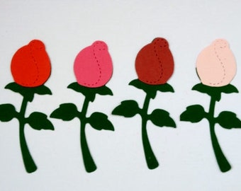 12 Assembled Rose flower Die cut card toppers for valentines love themed cards/cardmaking