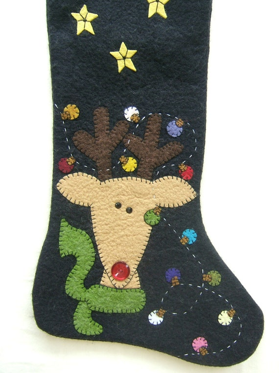 Unique wool felt hand made and appliqued christmas stockings for Custom made christmas stockings