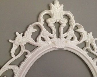 Antique White Frame Open Frame Large Ornate Baroque Shabby Chic Picture Wall Art Vintage Nursery Frame