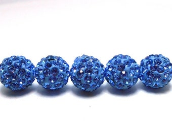 5 BluePave Beads, 10mm Blue Pave, 10mm Blue Beads, Shamballa Beads, Sapphire Blue Beads, Blue Disco Ball Beads, Blue Crystal Beads, T-102F