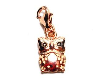 Rose Gold Owl Charm, 15x8mm, Gold Owl Charm, Owl Pendant, Owl Charms, Owl Pendant, Rose Gold Owl Pendant, Rose Gold Owl Charm CC0024O