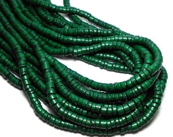 5mm Heishi Coco Beads, Natural Coco Beads, Green Beads, Forest Green Heishi Beads, Green Coco Beads D-O02G