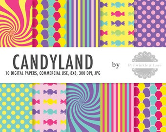 Candyland Sweet Candy Shoppe Themed Digital Paper - Commercial Use - Instant Download