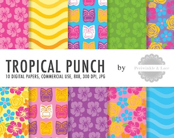 Tropical Punch Colorful Themed Digital Paper - Commercial Use - Instant Download